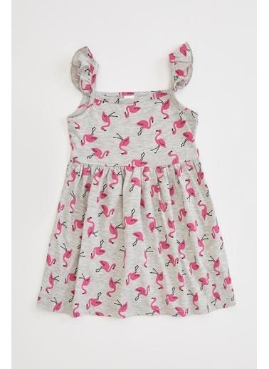 DeFacto Kız Bebek Flamingo Baskılı Fırfır Detaylı Elbise Gri
